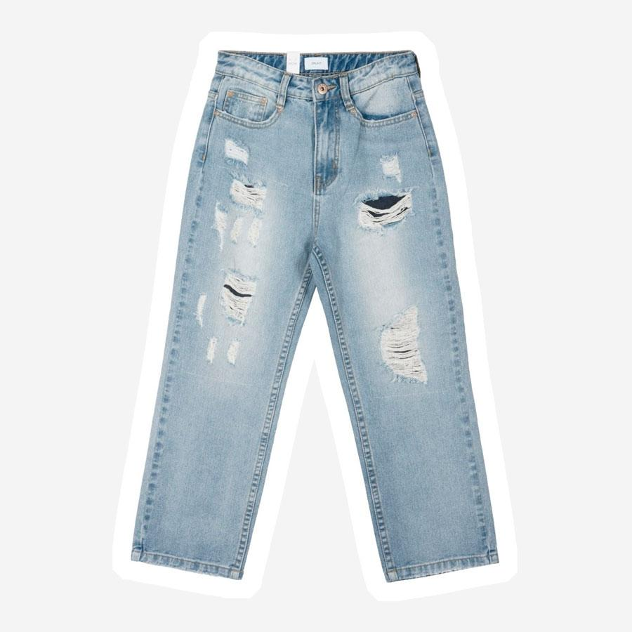 Grunt Mom Damage jeans lyseblå