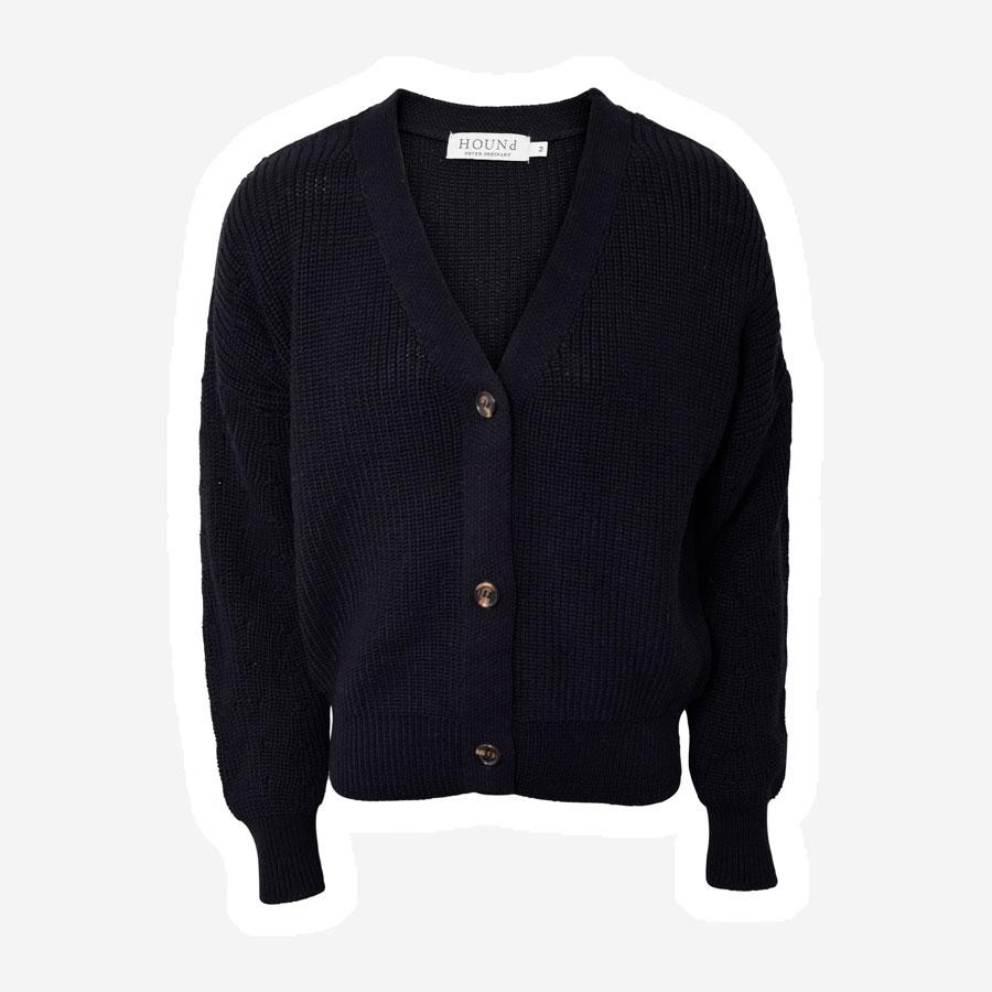 Hound strik cardigan m. knapper sort
