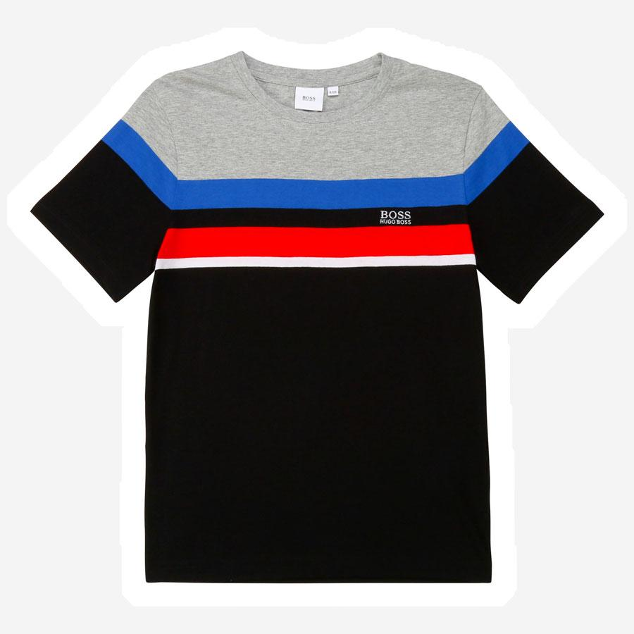 Hugo Boss Multi strib t-shirt sort rød blå grå