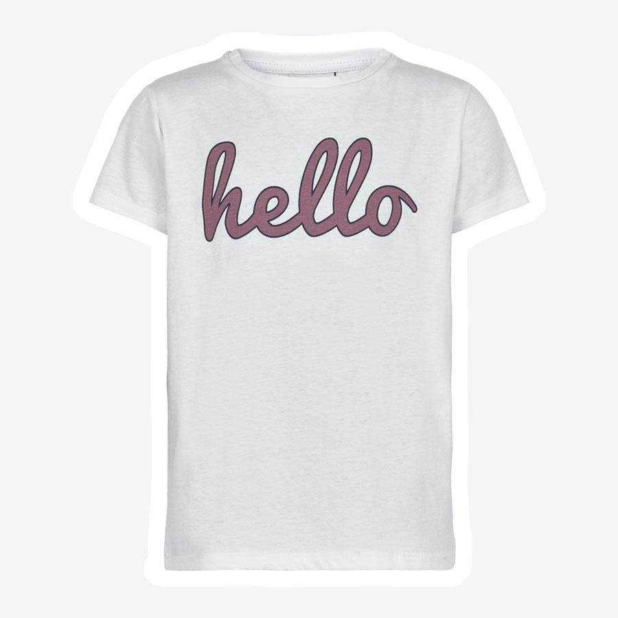 The New Fellow Hello t-shirt hvid lilla bordeaux