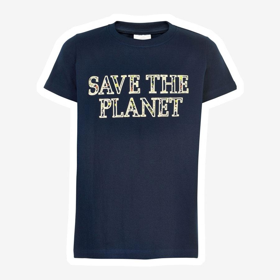 The New Okimi save the planet t-shirt mørkeblå