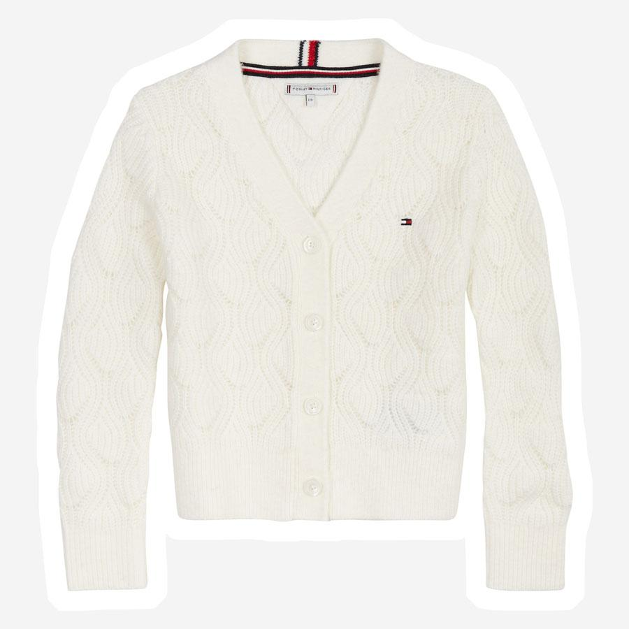 Tommy Hilfiger Cable strik cardigan creme