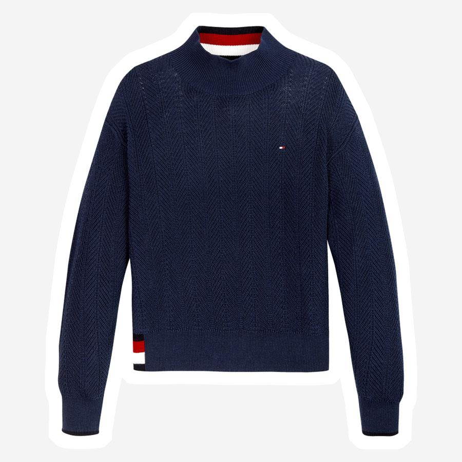 Tommy Hilfiger Global Stripe strik mørkeblå