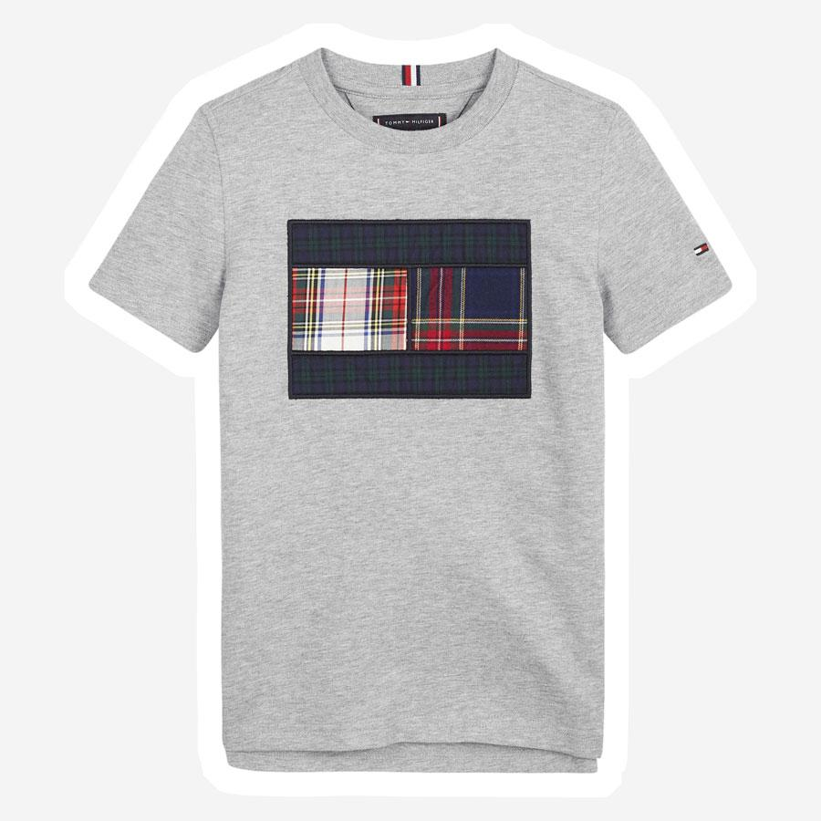 Tommy Hilfiger Mixed check flag t-shirt grå