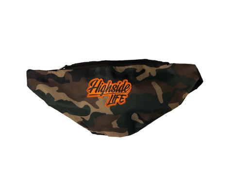 Highside Orange Script Camo Fanny Pack
