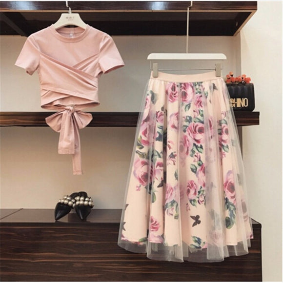 Rose Printed Skirt & Top Set