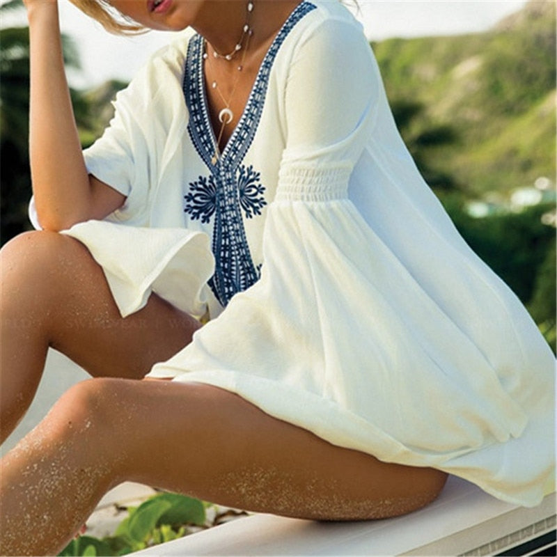 Embroidery Pareo Beach Cover up -Likabee, Women - Women's Swimwear, [Shop_name] - Likabee.com
