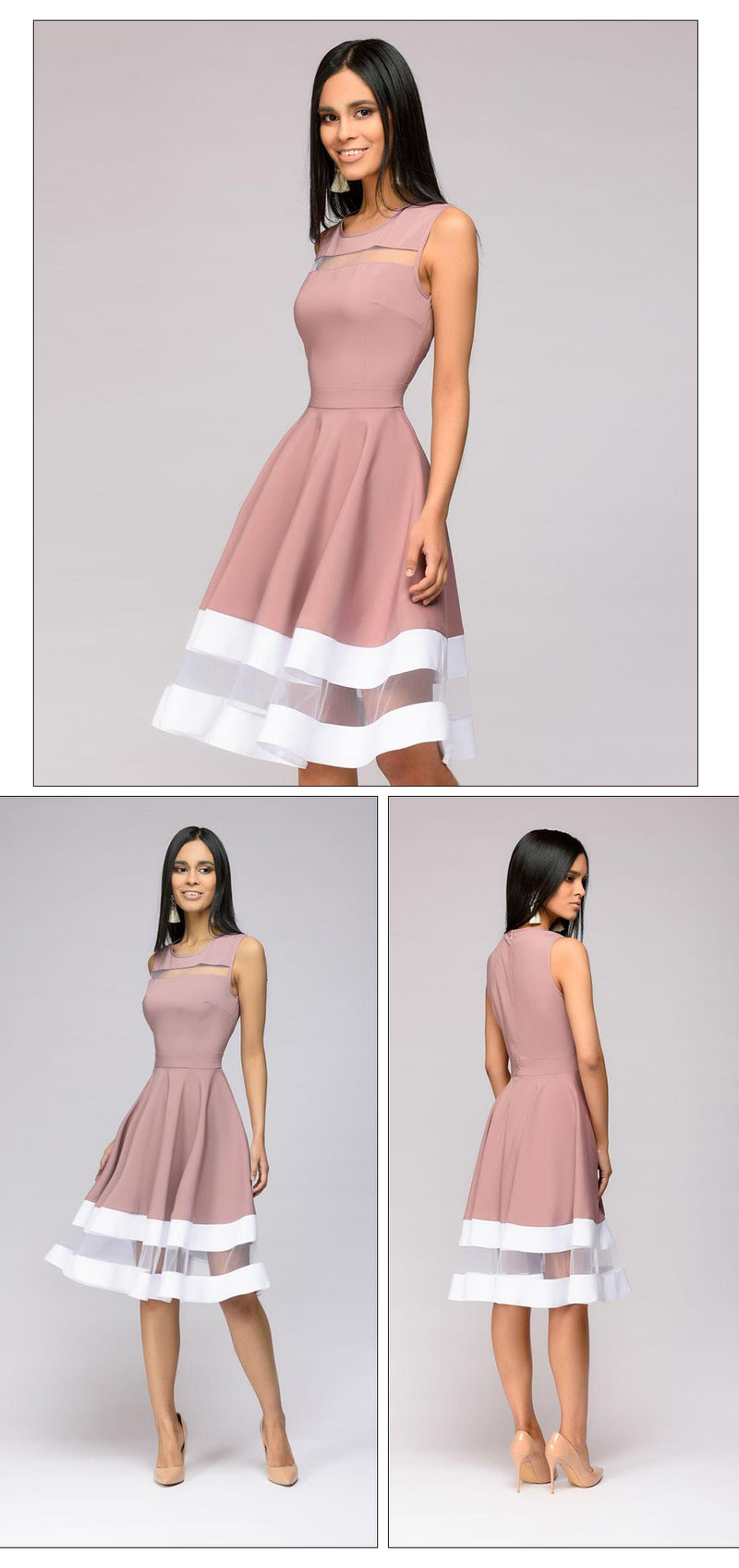 Elegant Mesh O-neck Dress