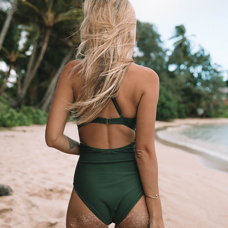 Backless V-neck Monokini -Likabee, Women - Women's Swimwear, [Shop_name] - Likabee.com