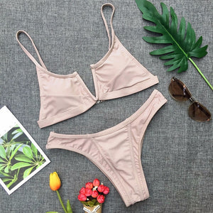 Two-piece solid color -Likabee, Women - Women's Swimwear, [Shop_name] - Likabee.com