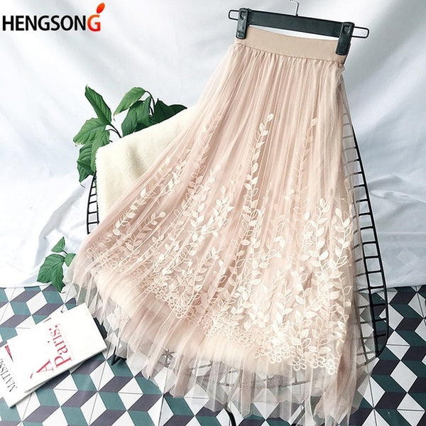 Floral Embroidery Mesh Skirt -Likabee,  - Women's Swimwear, [Shop_name] - Likabee.com