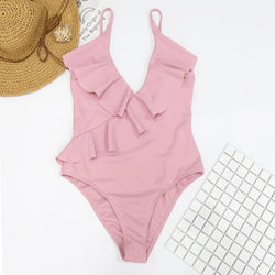 Sleeveless Ruffle V-neck  Flounce Monokini -Likabee, Women - Women's Swimwear, [Shop_name] - Likabee.com