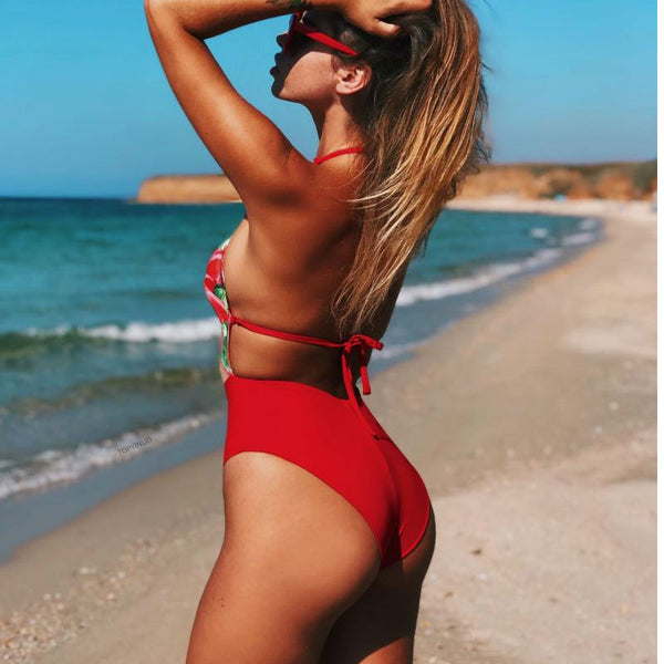 Hibiscus Red Monokini -Likabee, Women - Women's Swimwear, [Shop_name] - Likabee.com