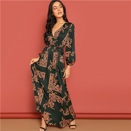 Printed Maxi Full Sleeve Dress