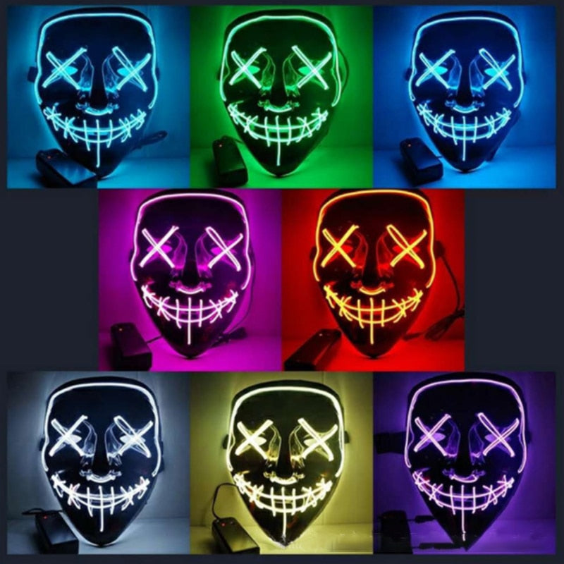 The Purge Election Year Neon Light Up LED Mask Terrifying