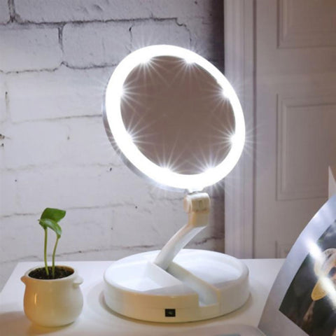 Image of LED Lighted Vanity Mirror With Storage Box Organizer