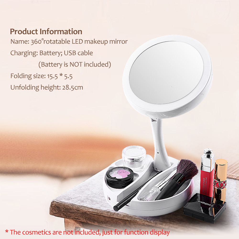LED Lighted Vanity Mirror With Storage Box Organizer