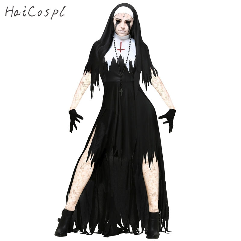 Scary Hot Nun Two Piece Costume