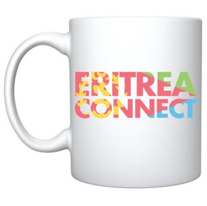 White cup with ERITREA CONNECT logo