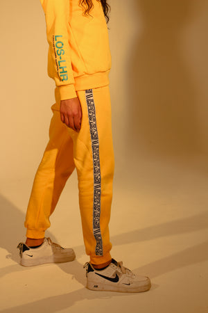 TRACK PANTS - LIFE IS EAZI LOGO YELLOW