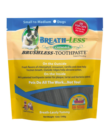 Ark Naturals BREATH-LESS Brushless-Toothpaste Sm/Med Dog Treats