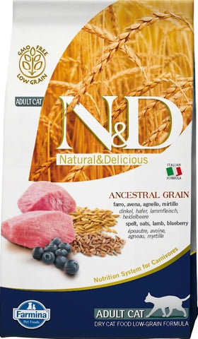 Farmina Natural and Delicious Lamb and Ancestral Low Grain Formula Dry Cat Food