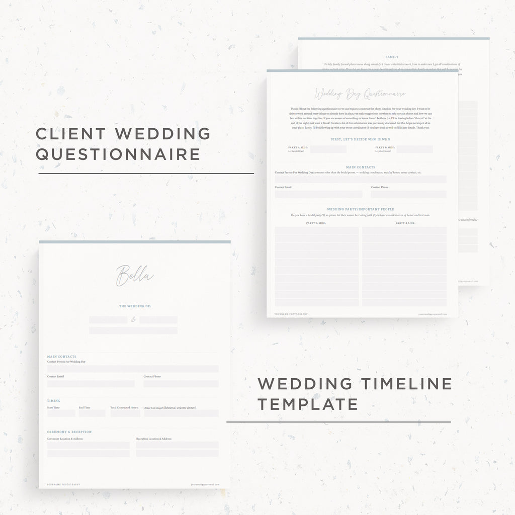 NEW! Questionnaire & Timeline Template | Bella