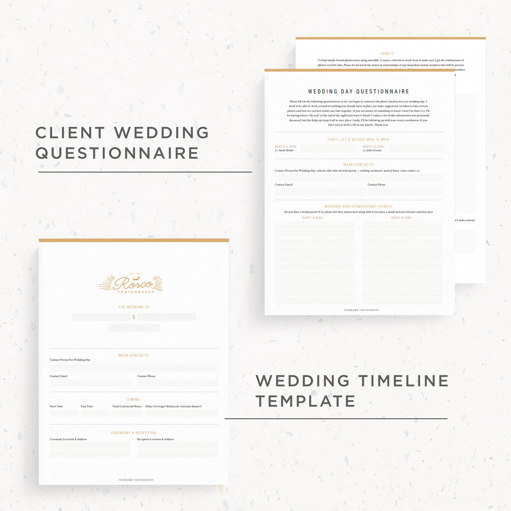 NEW! Questionnaire & Timeline Template | Rosco