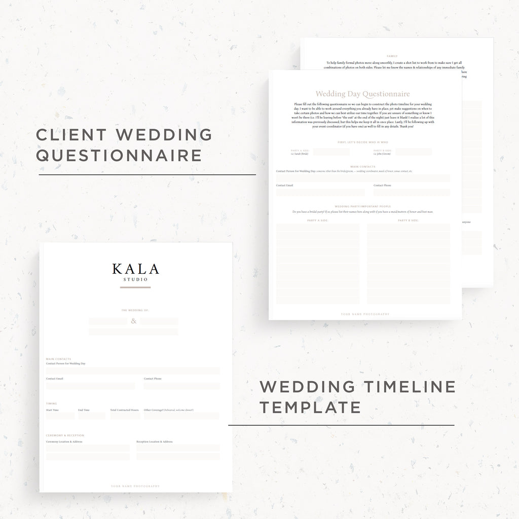 NEW! Questionnaire & Timeline Template | Kala