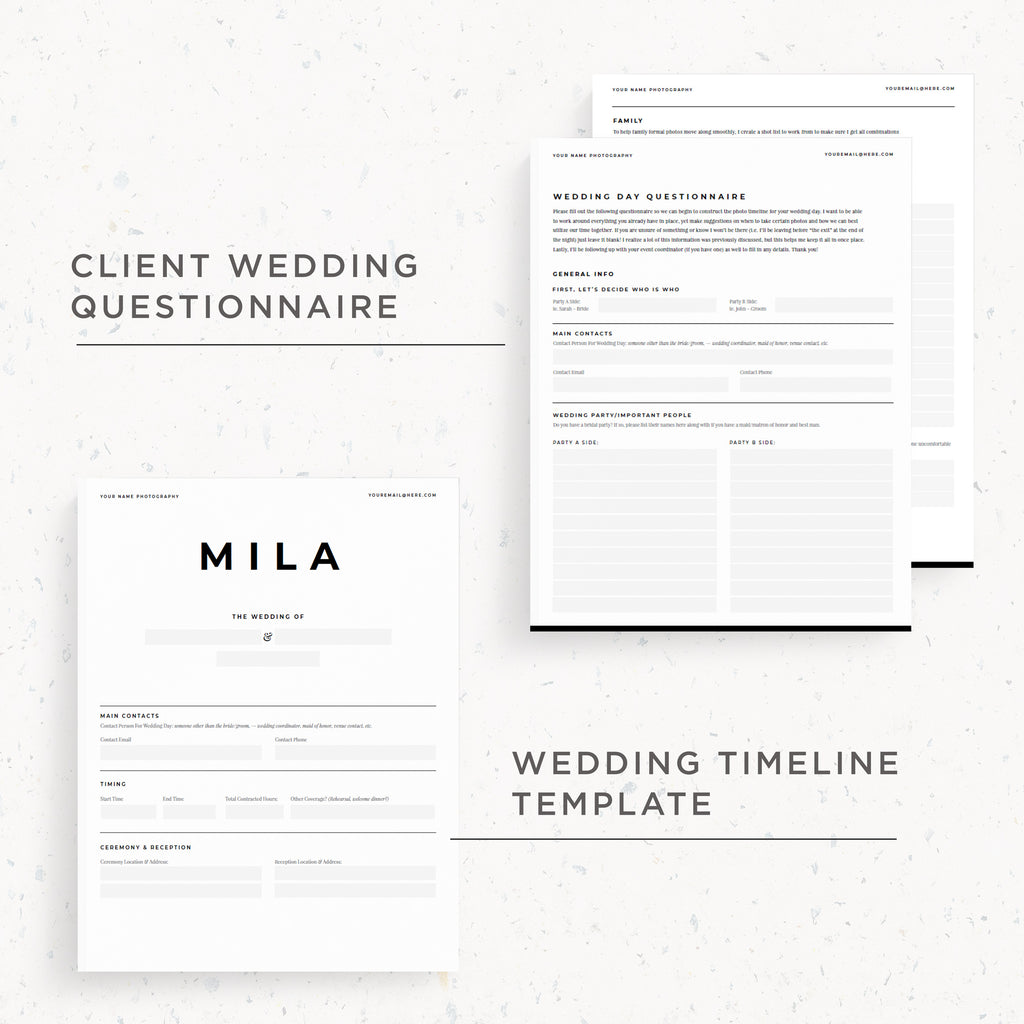 NEW! Questionnaire & Timeline Template | Mila