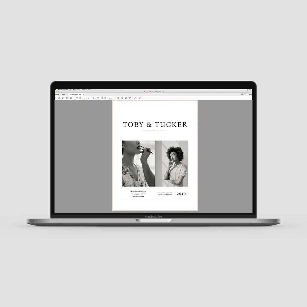 Professionally designed and customizable pricing guide template for make-up artists and hairstylists. Toby & Tucker template