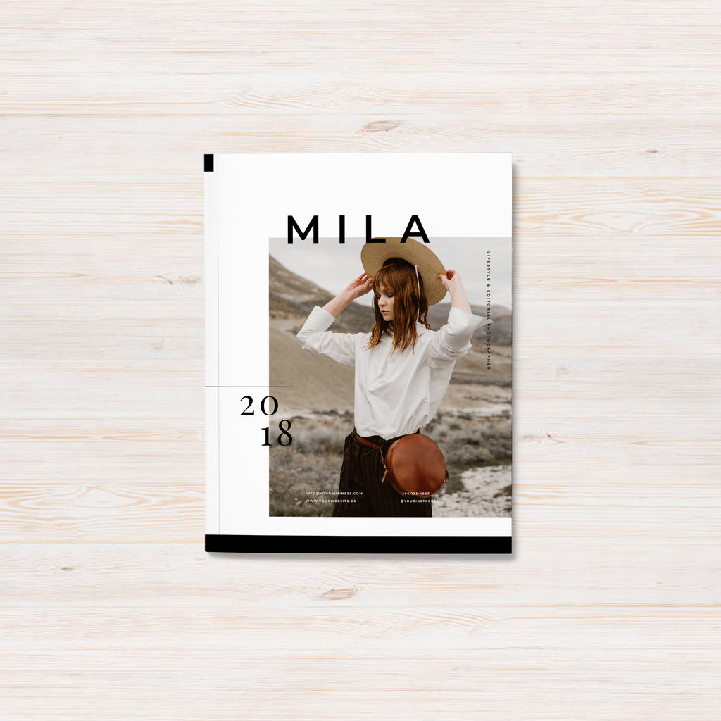 Wedding, editorial and commercial photography pricing guide template. Mila template.