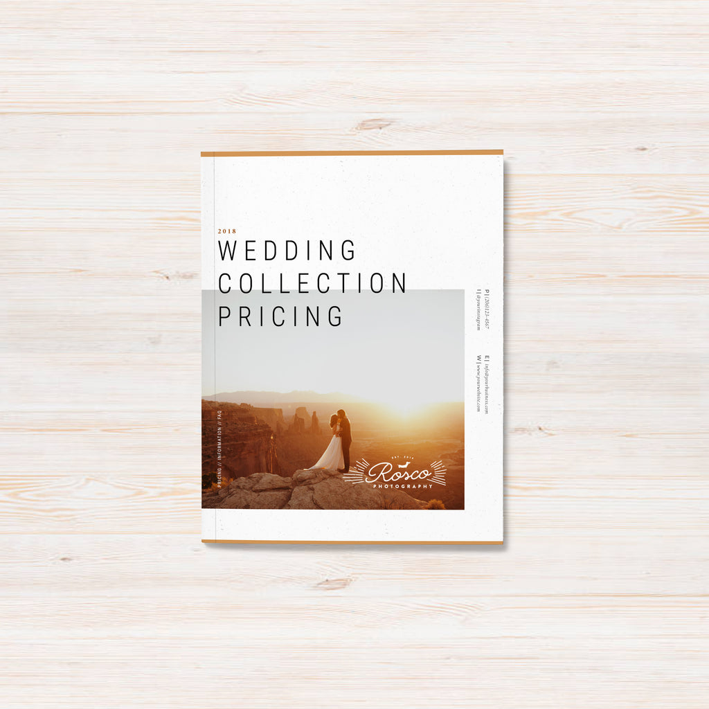 Adventure elopement and wedding photographer pricing guide template. Rosco template.