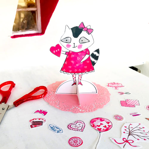 *Printable* Resi the Raccoon Valentine Paper Doll