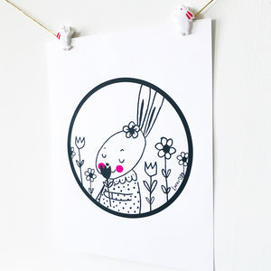 Rabbit with Tulips Monochrome Art Print