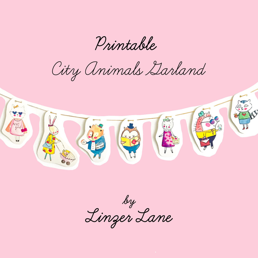 *Printable* City Animals DIY Wall Garland