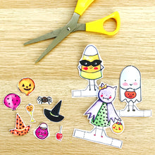 Load image into Gallery viewer, **Printable** Trick or Treat Friends Paper Doll Set