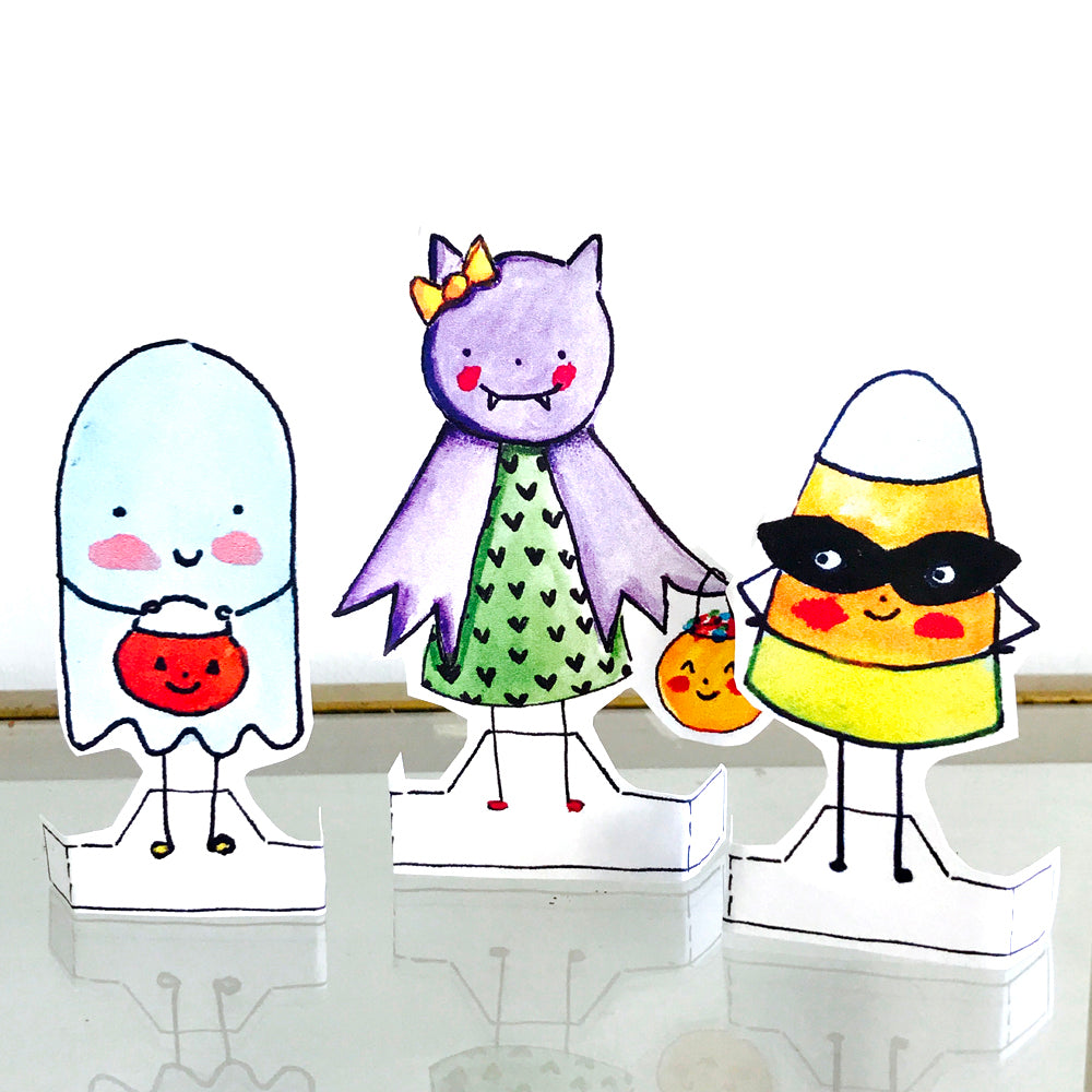 **Printable** Trick or Treat Friends Paper Doll Set