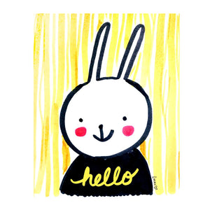 Hello Bunny Wall Art Print