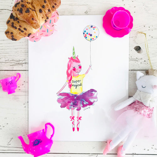 Super Magical Unicorn Art Print by Linzer Lane
