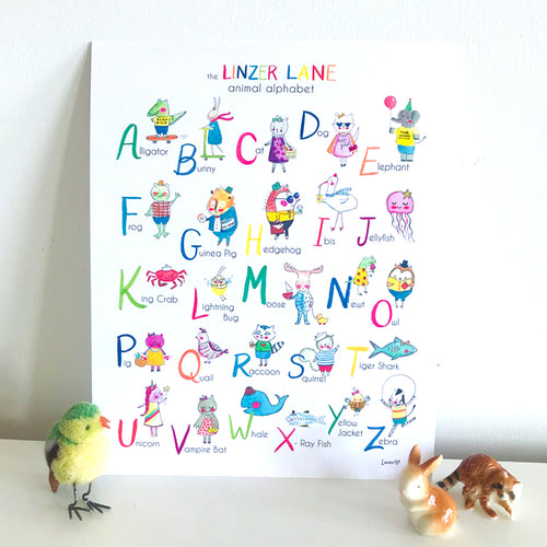 Animal Alphabet Wall Art Print by Baby Lucas