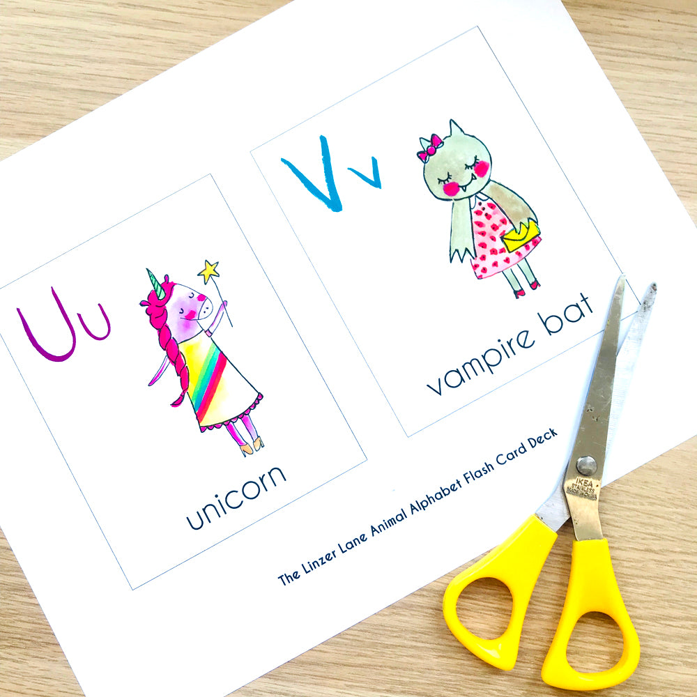 Printable Animal ABC Flashcard Deck by Baby Lucas