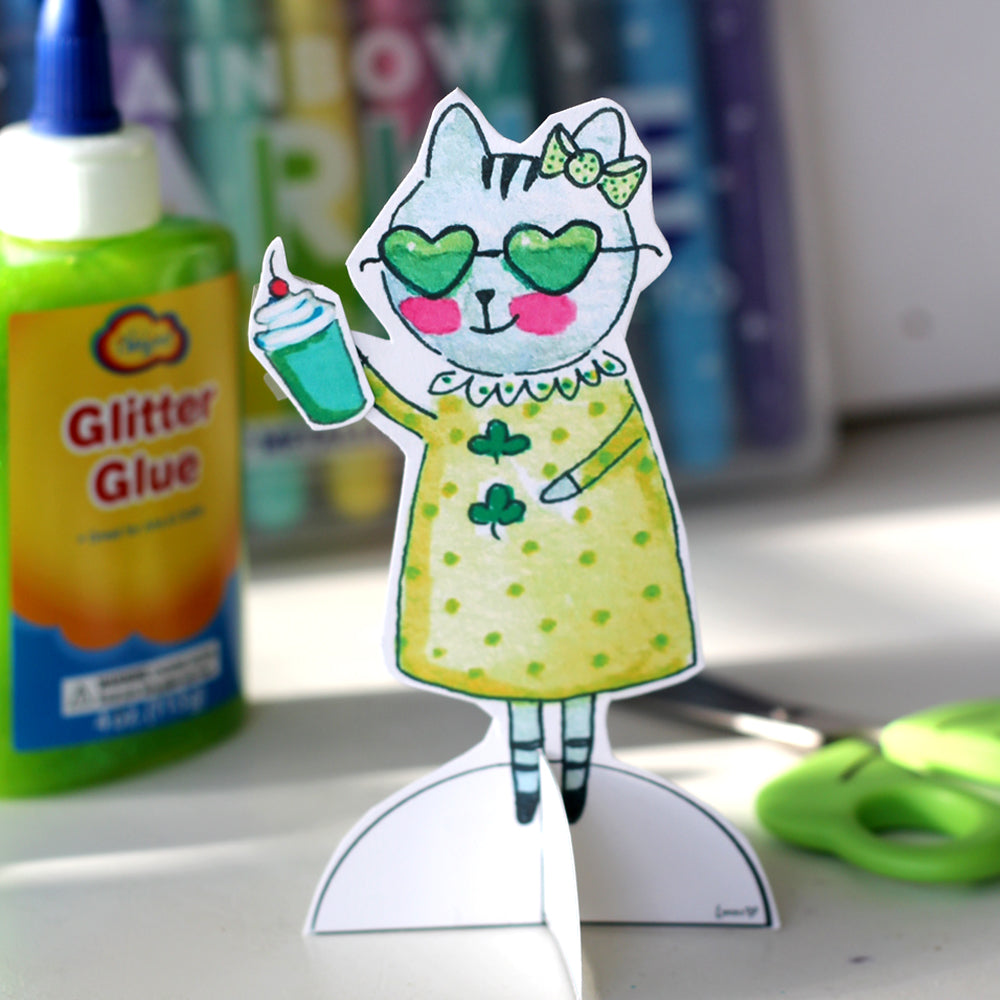 *Printable* Zoe the Tabby Cat St. Patrick's Day Paper Doll