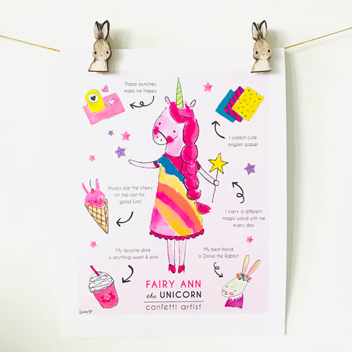Fairy Ann the Unicorn Art Print