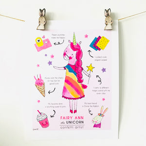 **Printable** Fairy Ann the Unicorn Poster