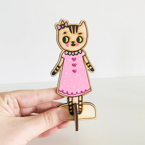 Zoe the Tabby Cat Wooden Doll by Baby Lucas