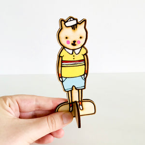 Roy the Tabby Cat Wooden Doll by Baby Lucas
