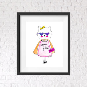New York City Girl Wall Art Print