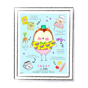 Treat the Owl Art Print by Linzer Lane