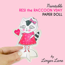 Load image into Gallery viewer, *Printable* Resi the Raccoon Valentine Paper Doll